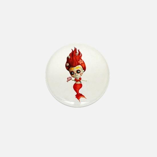 Dia de Los Muertos Mermaid Girl Mini Button