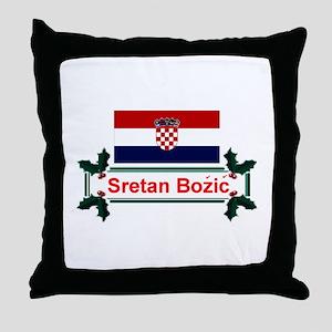 Croatian Sretan Bozic Throw Pillow