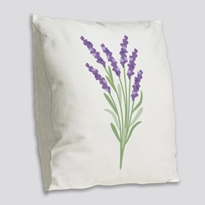 Lavender Flower Burlap Throw Pillow
