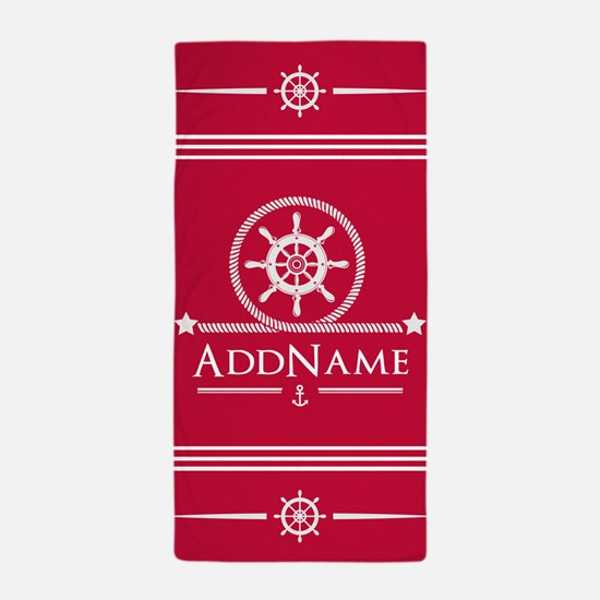 Cherry Red Nautical Ship Wheel and Anc Beach Towel