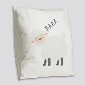 Baaa... Burlap Throw Pillow