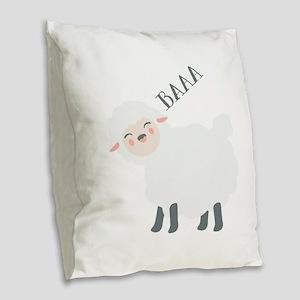 Baaa... Burlap Throw Pillow