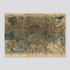 Vintage Map of London England (1860 5'x7'Area Rug