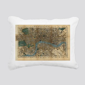 Vintage Map of London En Rectangular Canvas Pillow