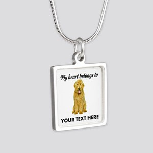 Personalized Goldendoodle Silver Square Necklace