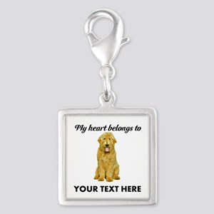 Personalized Goldendoodle Silver Square Charm