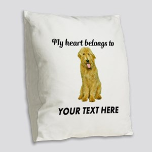 Personalized Goldendoodle Burlap Throw Pillow