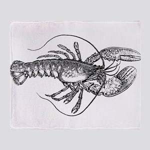 Vintage Lobster illustration Throw Blanket
