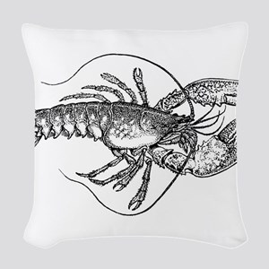 Vintage Lobster illustration Woven Throw Pillow