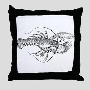 Vintage Lobster illustration Throw Pillow