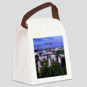 Riga, Latvia cityscape photograph Canvas Lunch Bag
