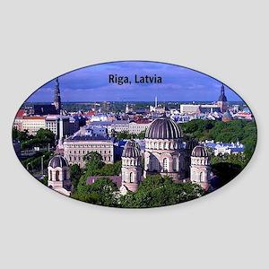 Riga, Latvia cityscape photograph Sticker (Oval)