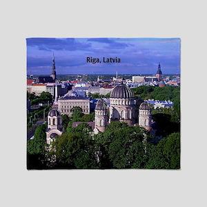 Riga, Latvia cityscape photograph Throw Blanket