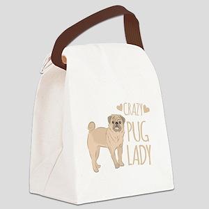 Crazy Pug Lady Canvas Lunch Bag