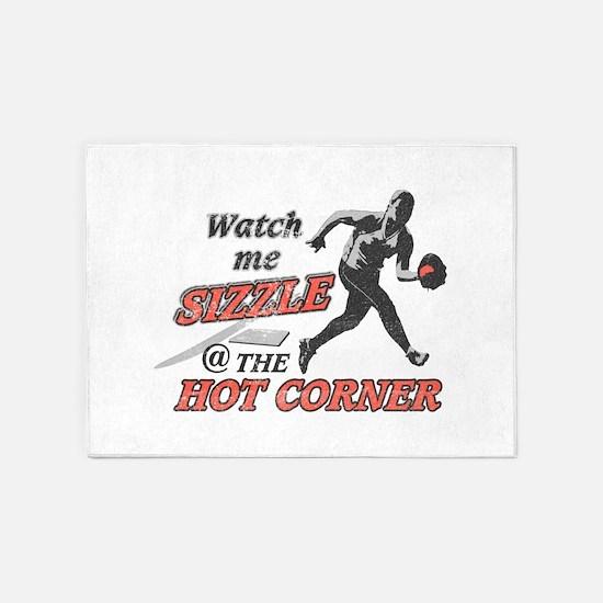 Softball Hot Corner Sizzle! 5'x7'Area Rug