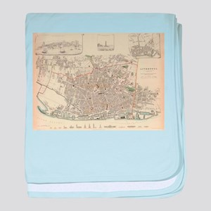 Vintage Map of Liverpool England (183 baby blanket