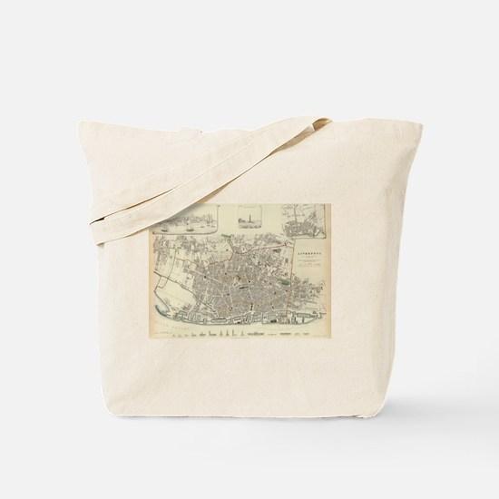 Vintage Map of Liverpool England (1836) Tote Bag