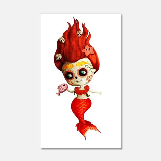 Dia de Los Muertos Mermaid Girl Wall Decal
