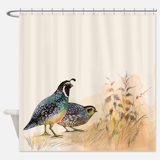 Watercolor Desert Gambel's Quail Shower Curtai