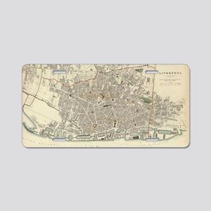 Vintage Map of Liverpool En Aluminum License Plate