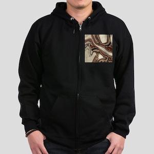 rustic brown swirls marble Zip Hoodie (dark)
