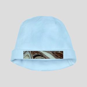 rustic brown swirls marble baby hat