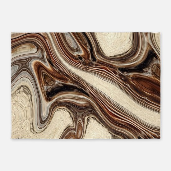 rustic brown swirls marble 5'x7'Area Rug