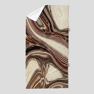 rustic brown swirls marble Beach Towel