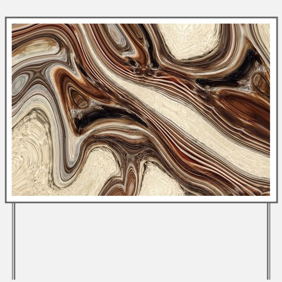 rustic brown swirls marble Yard Sign