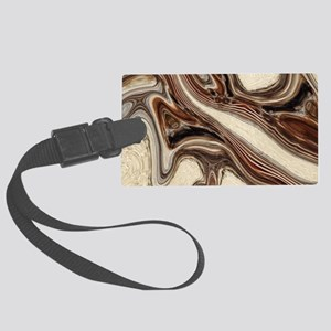 rustic brown swirls marble Large Luggage Tag