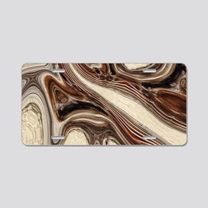rustic brown swirls marble Aluminum License Plate