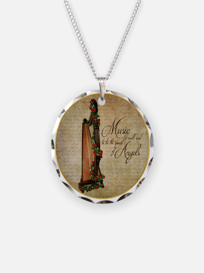 Irish Rose Harp Necklace