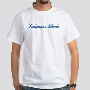 Galapagos Islands (cursive) White T-Shirt