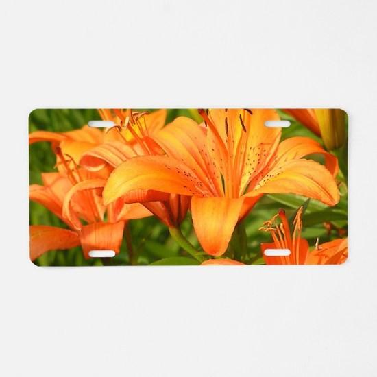 Orange Tiger Lilies Aluminum License Plate
