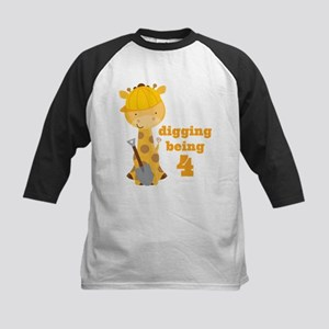 4th Birthday Construction Giraffe Baseball Jersey