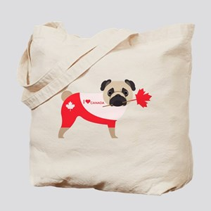 Canada Pug with Maple Leaf Heart Tote Bag