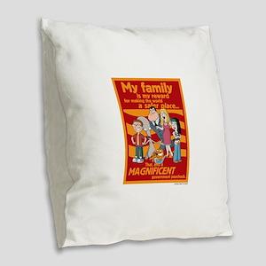 American Dad My Family Burlap Throw Pillow