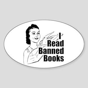 Read Banned Books Oval Bumper Sticker