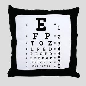 Eye Chart bold Throw Pillow