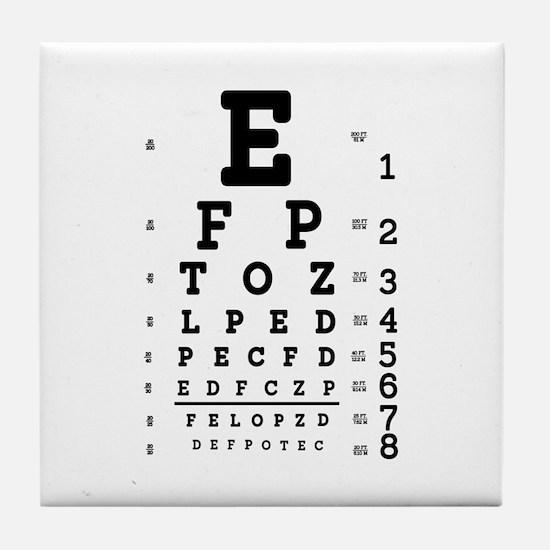 Eye Chart bold Tile Coaster