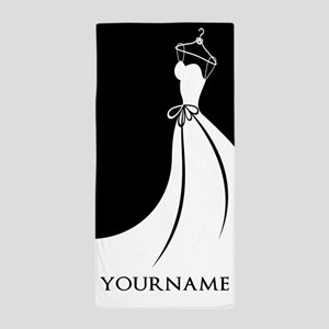 Black and White Wedding Dress Personal Beach Towel