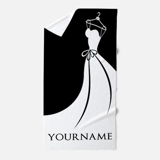 Black and White Wedding Dress Personal Beach Towel