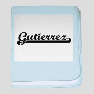 Gutierrez surname classic retro desig baby blanket