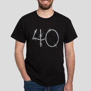 Faux Rhinestone 40th Birthday Dark T-Shirt