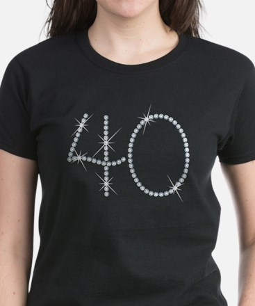 Faux Rhinestone 40th Birthday Women's Dark T-Shirt
