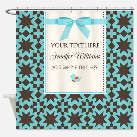 Brown and Blue Ribbon Personalized Shower Curtain