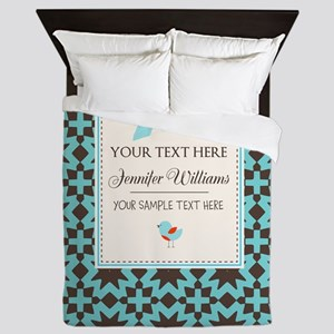 Brown and Blue Ribbon Personalized Queen Duvet