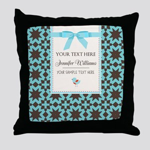 Brown and Blue Ribbon Personalized Throw Pillow