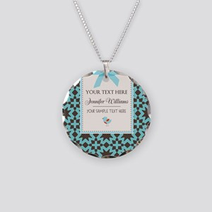Brown and Blue Ribbon Person Necklace Circle Charm