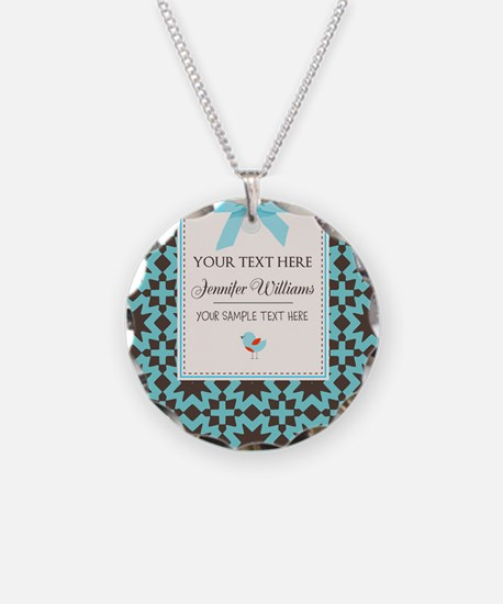 Brown and Blue Ribbon Person Necklace